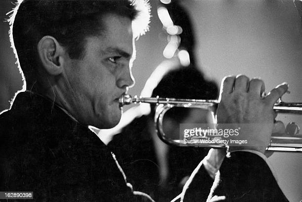 Closeup of American jazz musician Chet Baker as he plays trumpet New York New York 1957
