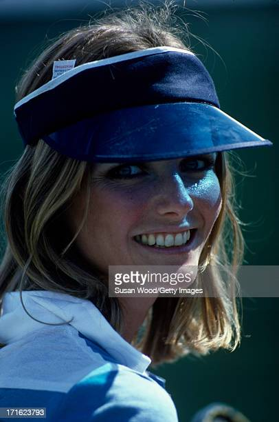 Closeup of American model and actress Cheryl Tiegs on the tennis court at La Costa Resort Spa Carlsbad California October 1976 This photo was taken...