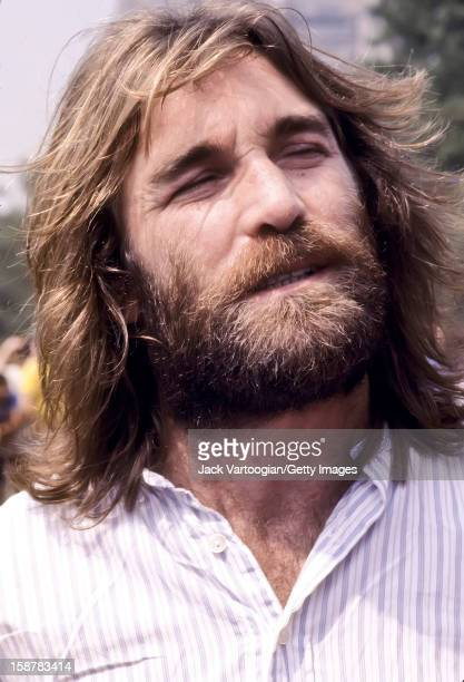 Closeup of American musican Dennis Wilson of The Beach Boys prior to a performance at a free concert on the Great Lawn of Central Park New York New...