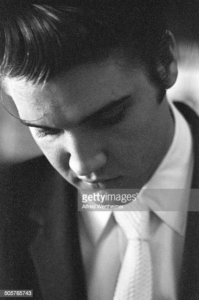 Alfred Wertheimer/Getty Images Closeup of American musician Elvis Presley at the Jefferson Hotel coffee shop Richmond Virginia June 30 1956 Elvis was...