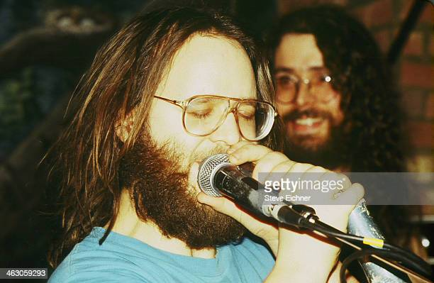 Closeup of American musician Jon Fishman of Phish as he appears as a guest of the band Shockra on stage at the Wetlands Preserve nightclub New York...