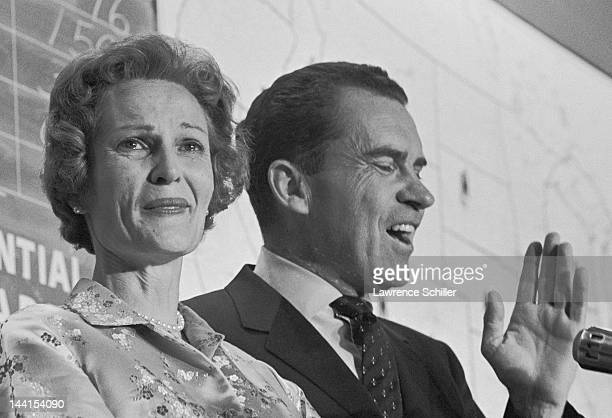 Closeup of American politician and sitting US VicePresident Richard Nixon as next to his wife Pat he concedes the presidential election to John F...