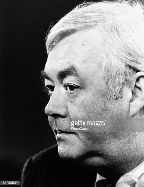 Closeup of American politician and US Senator Daniel Patrick Moynihan as he attends a Department of Housing and Urban Development meeting Washington...