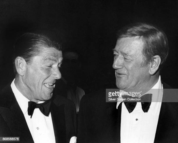 Closeup of American politician California Governor Ronald Reagan and actor John Wayne 1970 They were at a fundraiser in support of the Reagan's...