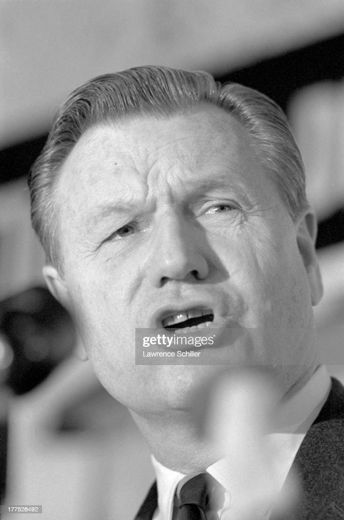 Close-up of American politician Nelson Rockefeller (1908 - 1979) as he campaigns for the Republican presidential nomination, Pasadena, California, 1964.