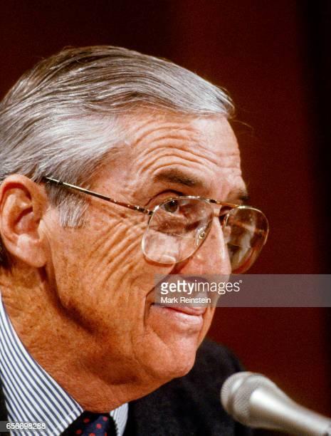 Closeup of American politician Senator Lloyd Bentsen Washington DC 1989