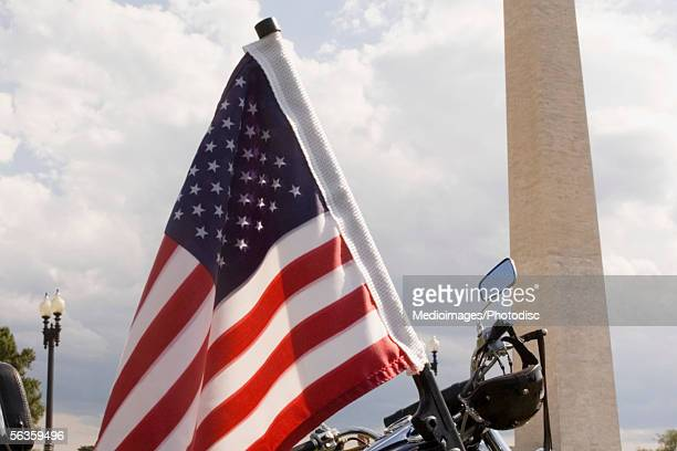 Close-up of an American flag on rear of a motorcycle, Washington Monument, Washington DC, USA