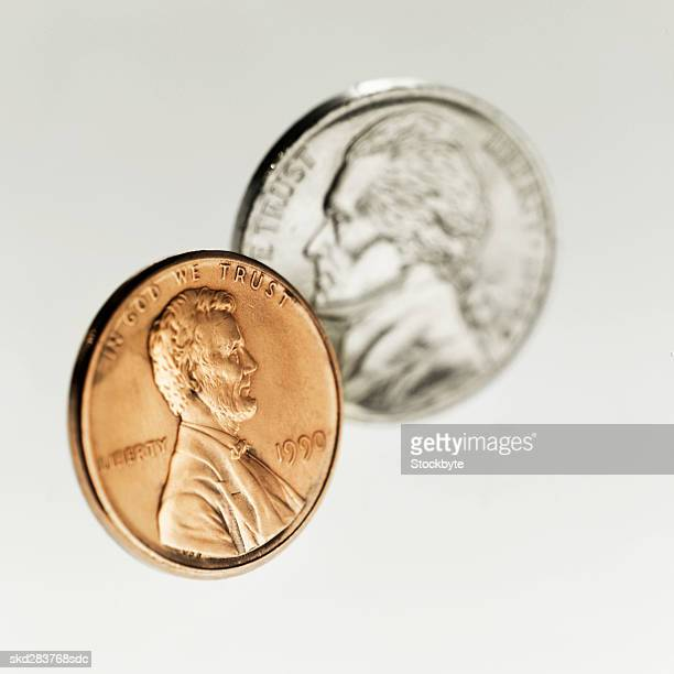 Close-up of an American penny and nickel