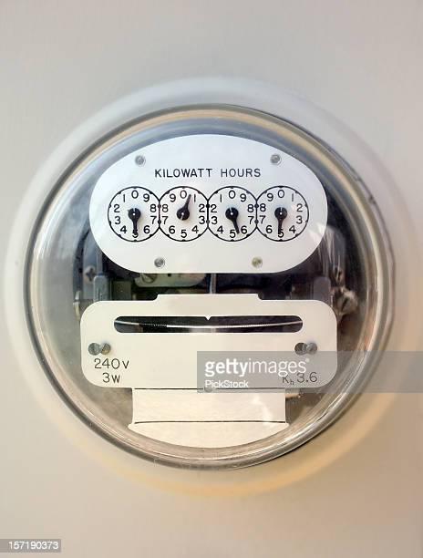 A closeup of an electric meter