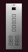 Close-up of an elevator panel on first floor