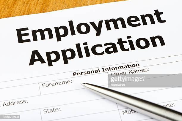 Primer plano de un empleo formulario de solicitud