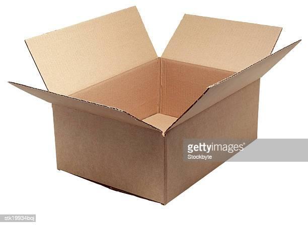 close-up of an empty cardboard box kept open