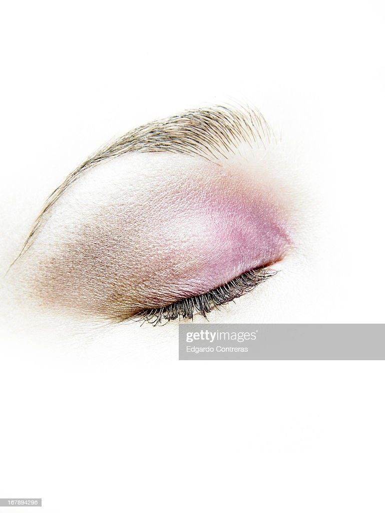 closeup of an eye with eyelids shut : Stock Photo