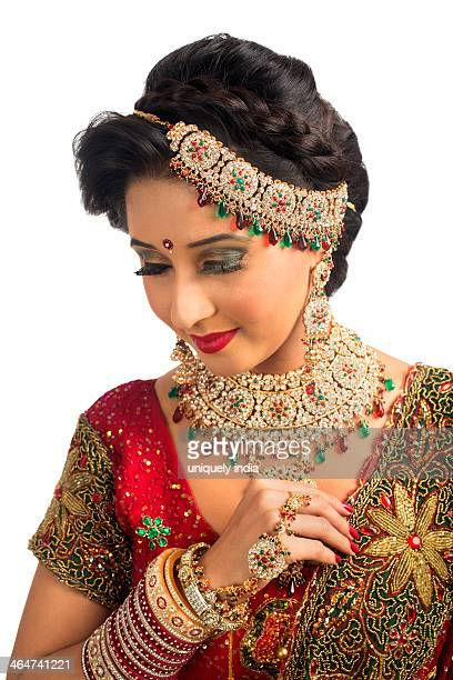 Close-up of an Indian bride in traditional wedding dress