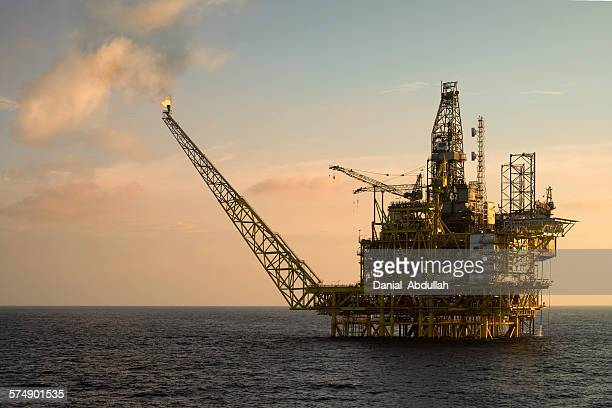 Close-up of an oil platform at sea
