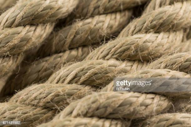 Close-up of an old frayed boat rope