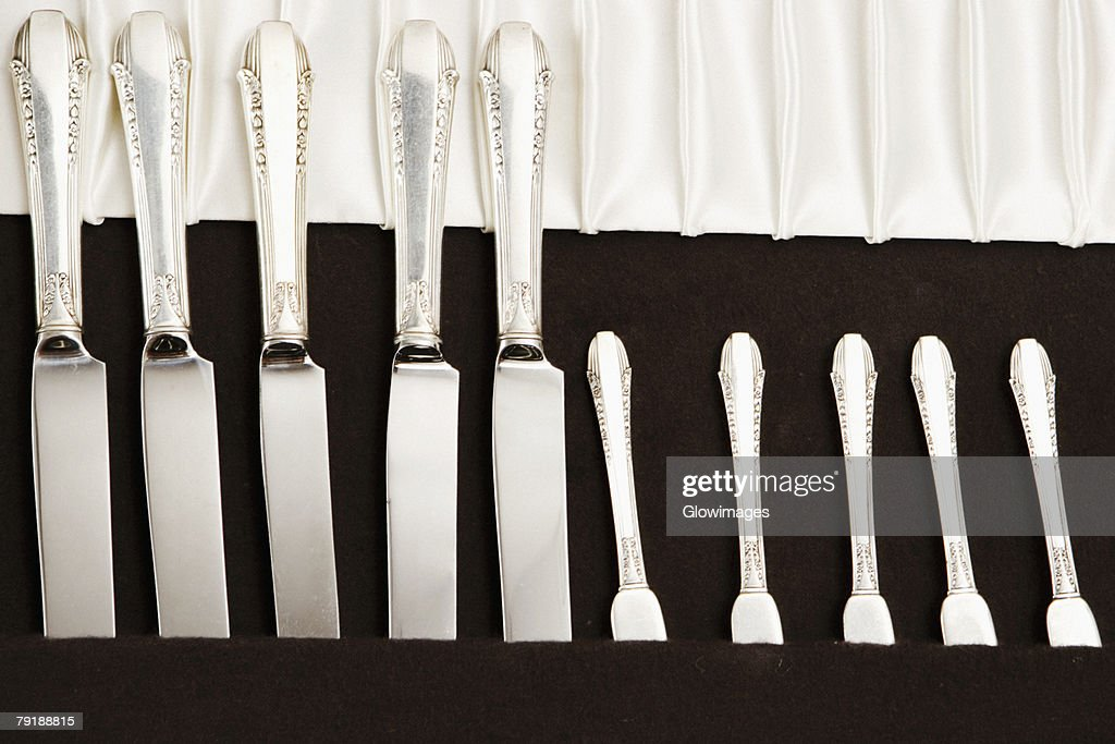 Close-up of an open cutlery box : Stock Photo