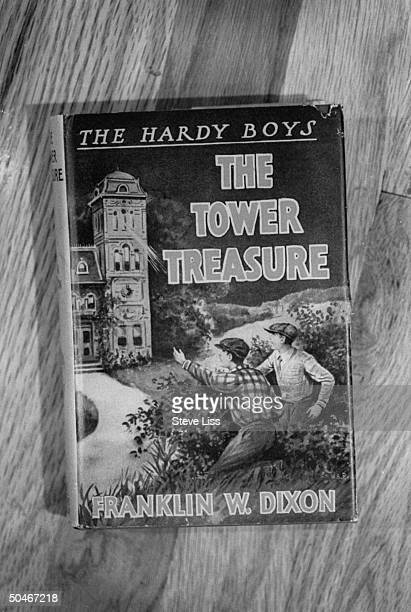 Closeup of an original THE HARDY BOYS THE TOWER TREASURE adventure book by Franklin W Dixon owned by Applewood Books publisher Phil Zuckerman who...