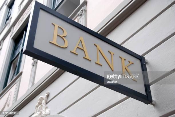 A close-up of an outdoor bank sign