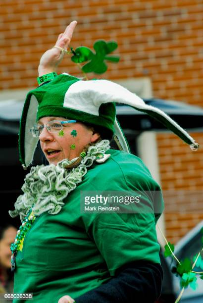 Closeup of an unidentified costumed woman as she dances in the annual Saint Patrick's Day Parade Emporia Kansas March 11 2017
