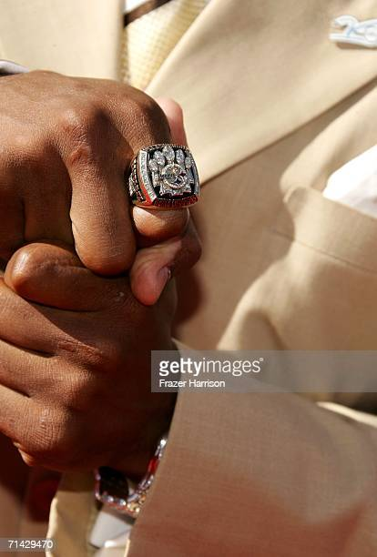 A closeup of Antwaan Randle El of the Pittsburgh Steelers shows off his Super Bowl ring as he arrives at the 2006 ESPY Awards at the Kodak Theatre on...