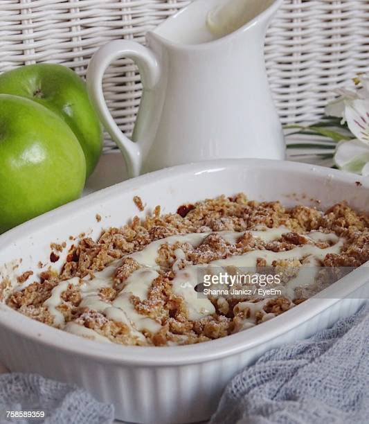 Close-Up Of Apple Crumble In Container