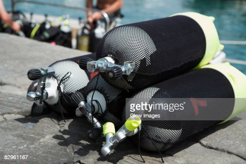 Close-up of aqualungs, Italian Riviera, Genoa, Liguria, Italy