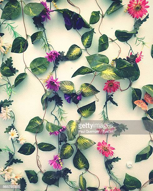 Close-Up Of Artificial Plants And Flowers On Wall