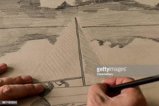 Close-Up van de Hand-tekening van de kunstenaar