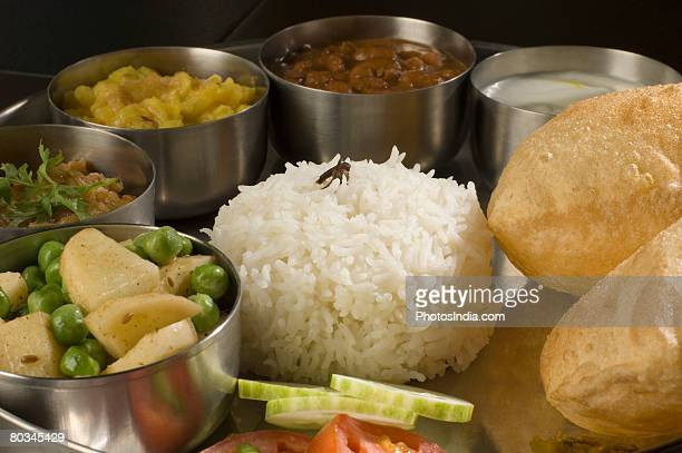 Close-up of assorted Indian food