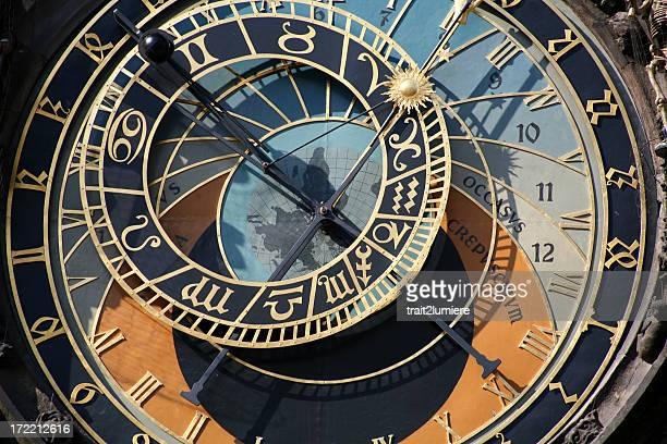 Close-up of astronomical clock in Prague, Czech Republic