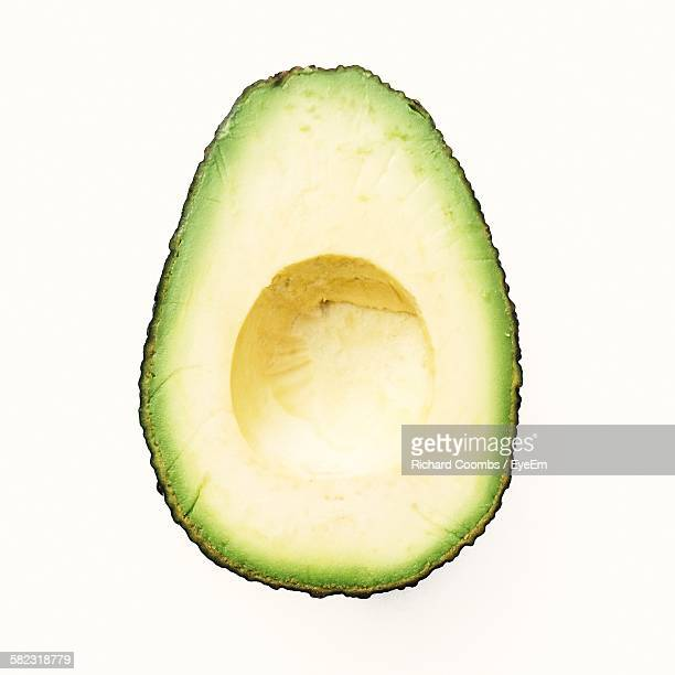 Close-Up Of Avocado Against White Background