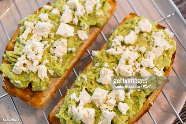 Close-up of avocado feta toast