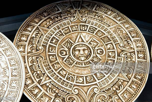Close-up of Aztec calendars, Mexico