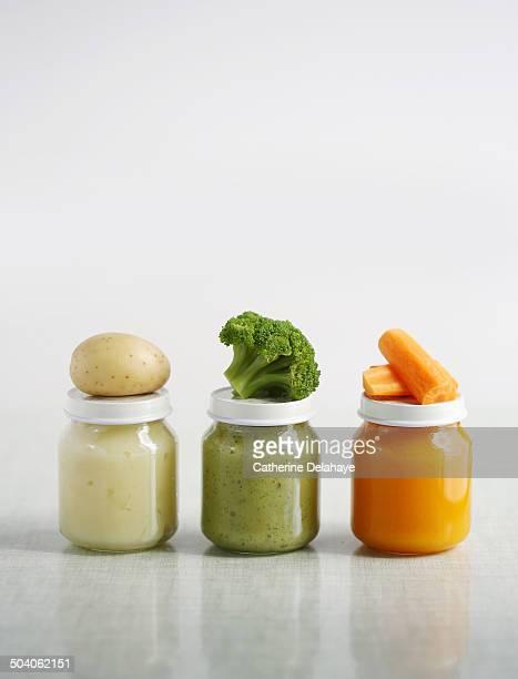 Close-up of baby jars