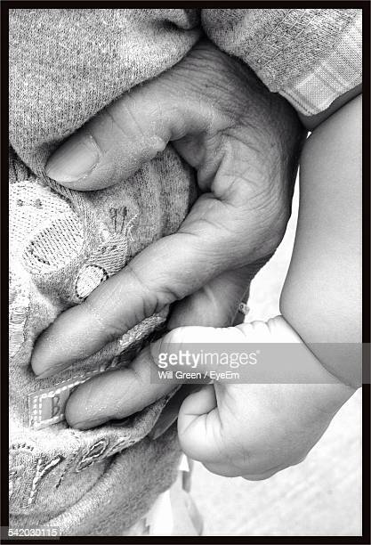 Close-Up Of Baby Touching Grandfather Hand