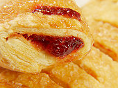 Close-up of baked stuffed pastry