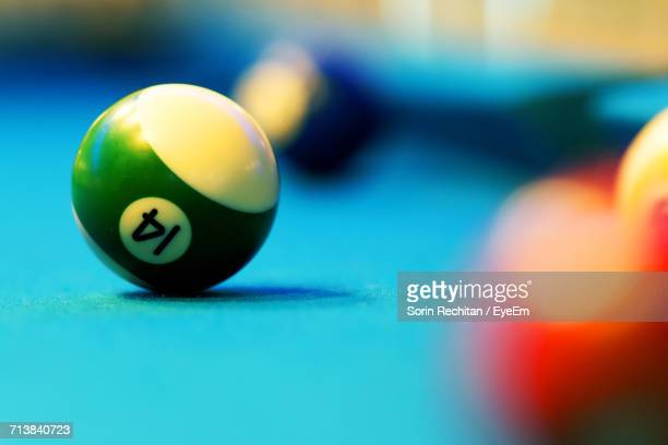 Close-Up Of Balls On Pool Table