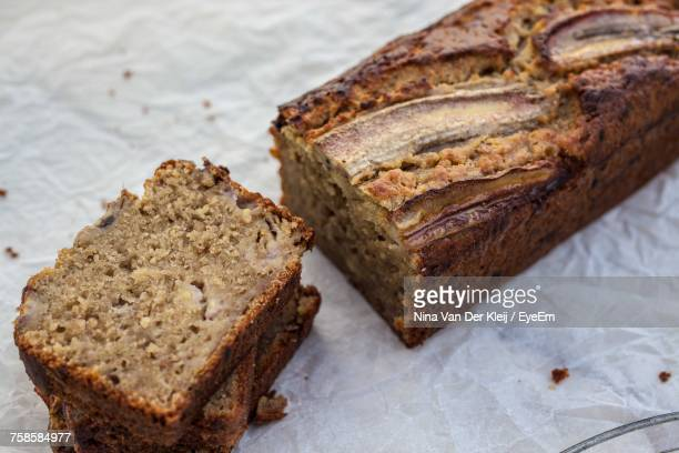 Close-Up Of Banana Bread On Table