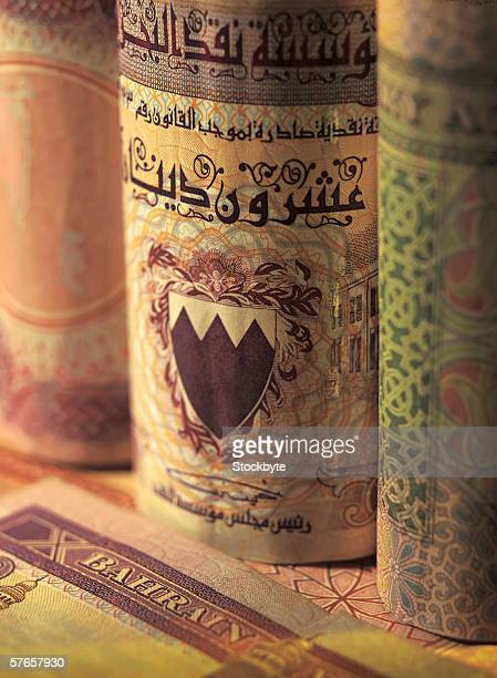 Close-up of bank notes of Bahrain