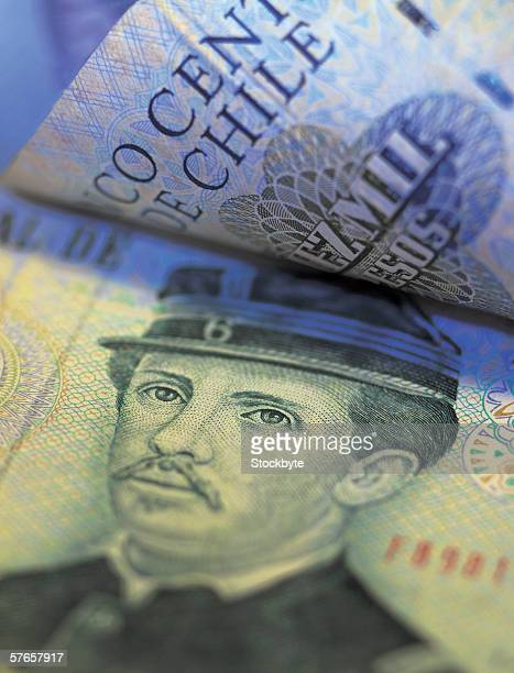Close-up of bank notes of Chile