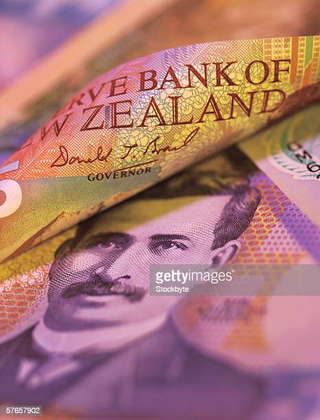 Close-up of bank notes of new Zealand