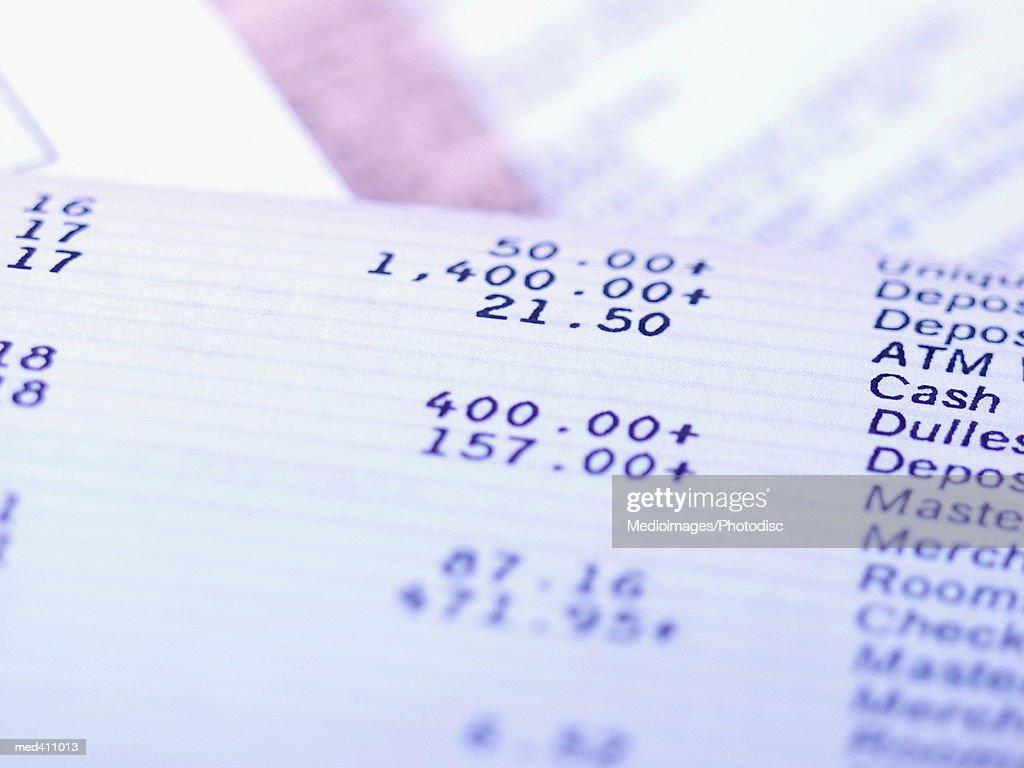 Close-up of bank record : Stock Photo