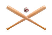 closeup of baseball bat and ball on white background.