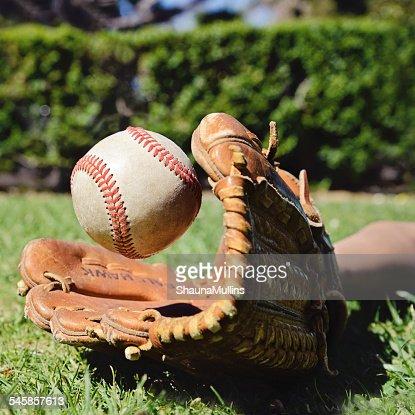 Close-up of baseball glove and ball