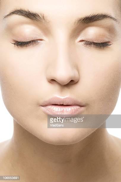 クローズアップの美しい女性の顔