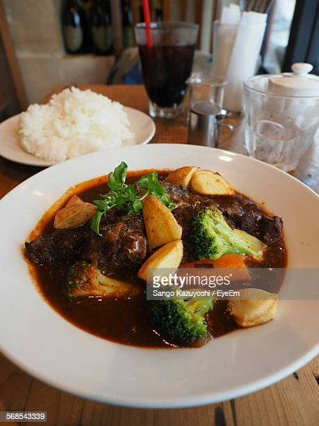 Close-Up Of Beef Stew Served In Plate On Table