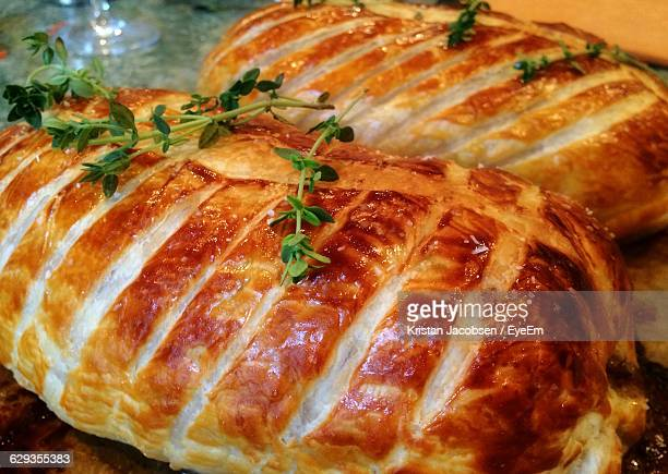 Close-Up Of Beef Wellington On Table