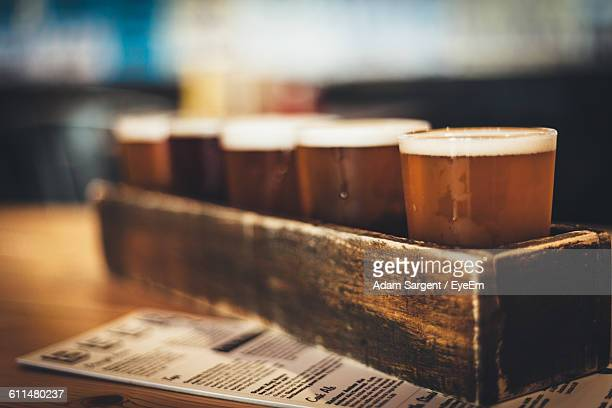 Close-Up Of Beer Flight On Table