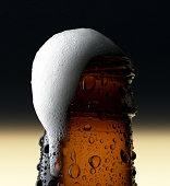 Close-up of beer foam